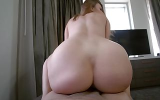 Teenage cutie with a fat butt railing a fine pecker in POV