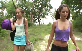 Two hot girlfriends have hookup outdoors