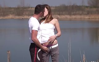 Brunette teenager gets fucked and jizzed outdoors