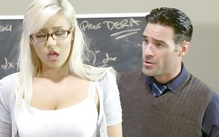 A blonde that enjoys getting naked is pounded in the classroom hard
