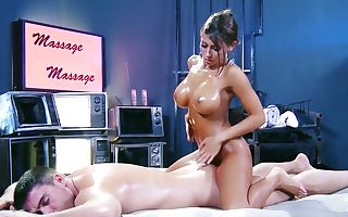 Busty tanned brunette Madison Ivy gives Toni Ribas a rubdown