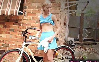 Skinny amateur blondie with two sex toys